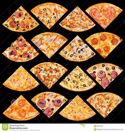 Pizza Quarters Cuartos Aislado Fijados Isolated