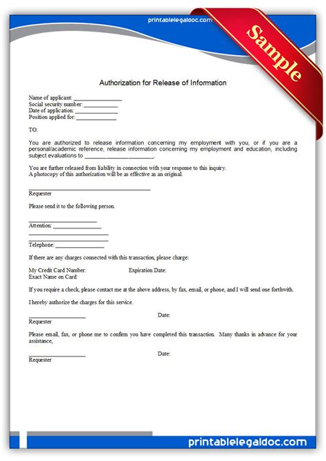 printable authorization  release  information