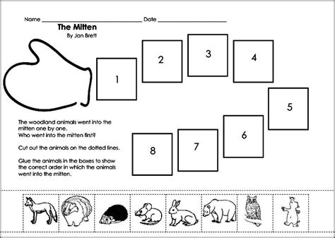 10 best images of the mitten worksheets preschool mitten 534 | the mitten by jan brett sequencing 494923