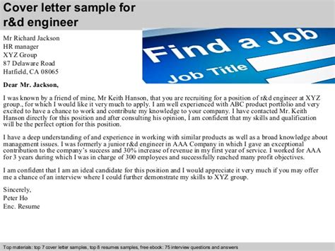 r d engineer cover letter