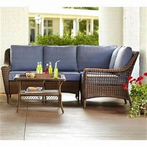 hampton bay spring haven brown 5 piece all weather wicker With spring haven furniture home depot