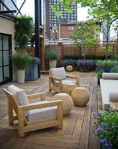 Salon De Jardin Terrasse : confort maxi sur une terrasse zen en bois ~ Teatrodelosmanantiales.com Idées de Décoration