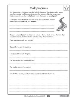 5th grade writing worksheets malapropisms writing worksheets for 3rd 4th and 5th grades