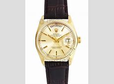 Rolex Day Date 18k Yellow Gold On Brown Leather Strap 18038