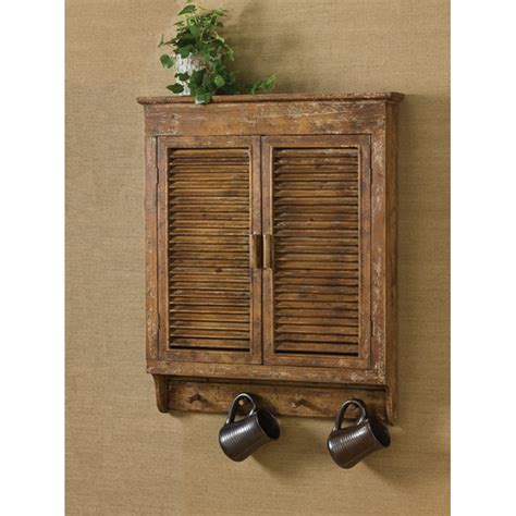 distessed wood shutter wall cabinet