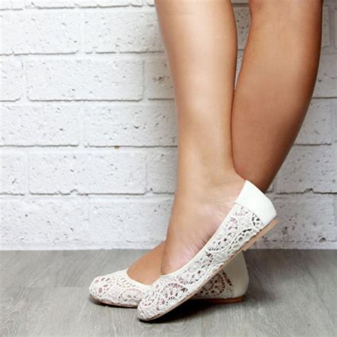 lace ivory ballet flat shoes soft leather   lace