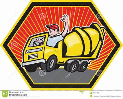 Cement Truck Driver Construction Concrete Mixer Cartoon