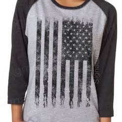 American Flag Baseball Tee Shirt Women's