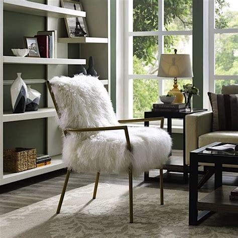 lena sheepskin chair white gold modern digs furniture