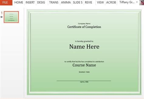 completion certificate template  powerpoint