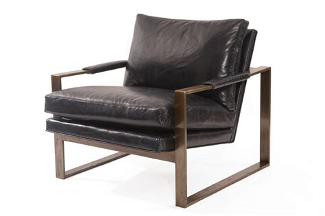 bronze and leather lounge chair by milo baughman at