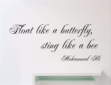 sticker phrase chambre muhammad ali quote wall sticker float like a butterfly