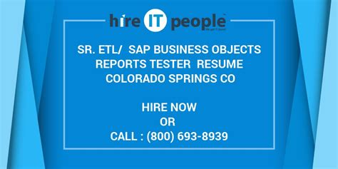 Business Objects Reports Resume by Sr Etl Sap Business Objects Reports Tester Resume Colorado Springs Co Hire It We