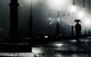 dark, night, rain, alone, wet, thinking ...