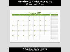 2019 12Month Landscape Calendar with Tasks – 55 x 85