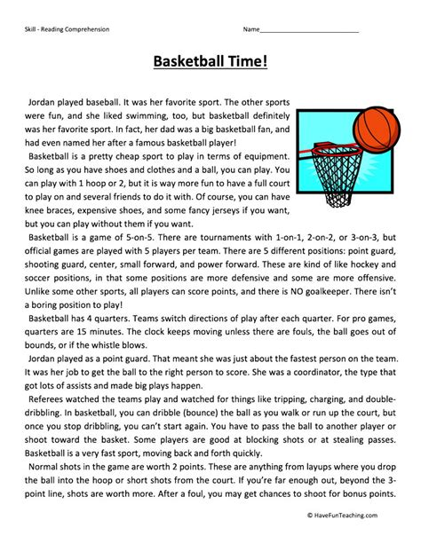 basketball time reading comprehension worksheet  fun