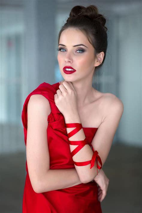wallpaper women px model long hair red dress