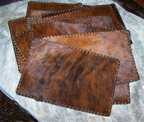 Cowhide Placemats h m valley ranch store western decor cowhide placemats