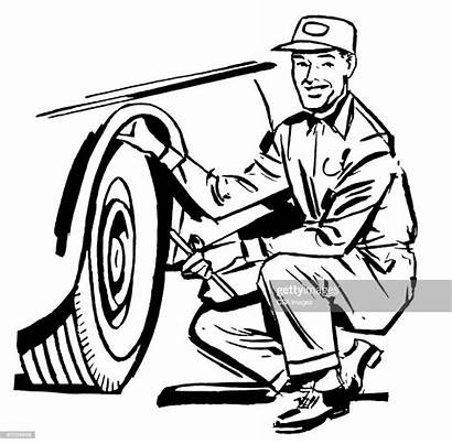Mechanic Tire Changing Illustration Illustrations Graphic Vector