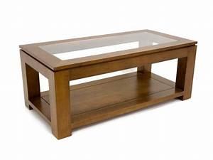 Table Basse Bois Rectangulaire : table de salon holly double plateau avec 1 panneau en verre meubles bois massif ~ Teatrodelosmanantiales.com Idées de Décoration