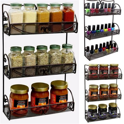 Spice Storage Racks by Spice Rack 3 Tier Wall Mounted Holder Storage Shelf