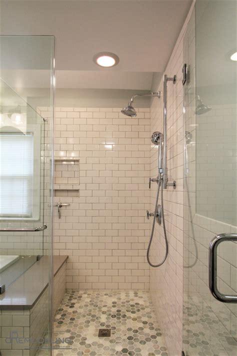 bathroom towel hanging ideas white subway tile walk in shower transitional bathroom
