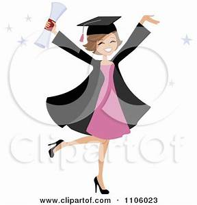 Clipart Happy Black College Graduate Woman Holding Her ...