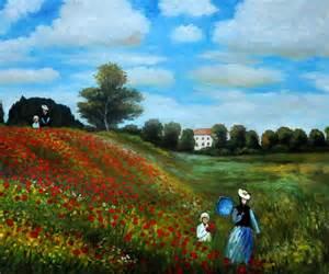 Claude Monet Poppy Field Painting