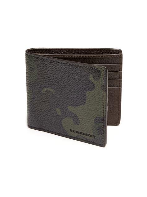 burberry camouflage leather bifold wallet  dark green green  men lyst