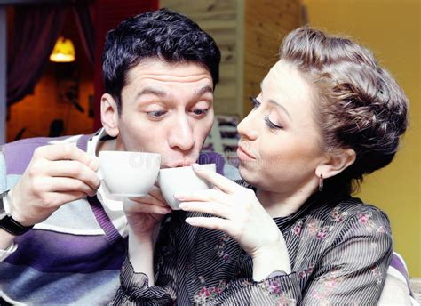Young Lovers Drinking Coffee Funny Shot Stock Photography Calories Coffee Half And Sugar Costa Uk Carbs Jacobs Ucc Organic Tesco Montreal Kaponiera