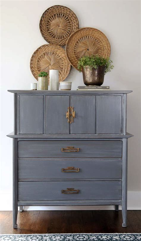 Distressed and Glazed Driftwood Dresser   General Finishes
