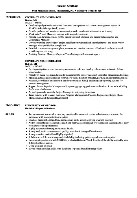 Contract Administrator Cv by Contract Administrator Resume Sles Velvet