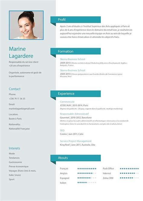 Mise En Page Cv by Mise En Page Cv Modele De Cv Exemple Et Type Gratuit