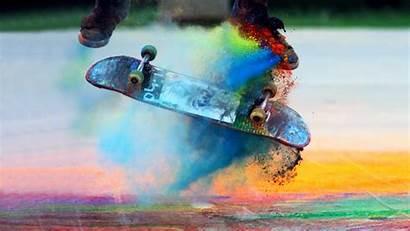 Skate Skateboards Skateboarding Powder Colourful Slow Motion