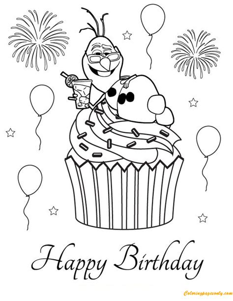 nice happy birthday cupcake coloring page  coloring