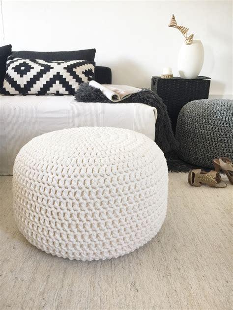 Large Crochet Round Pouf Ottoman Nursery Footstool Pouf