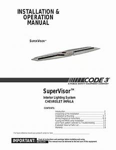 Code 3 Supervisor Tl For Chevy Impala User Manual