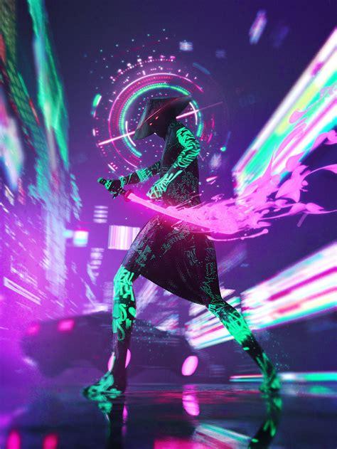 #vertical, #neon, #cyberpunk, #futuristic, #samurai, # ...