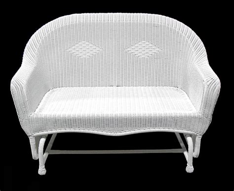 51 quot white resin wicker glider outdoor patio chair