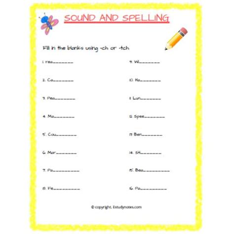 english sound and spelling worksheet 1 grade 2 estudynotes