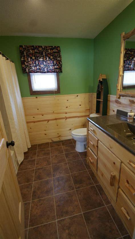 bathroom  custom log vanity cabin vanity tile