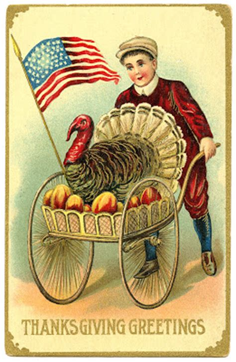 vintage thanksgiving image boy  patriotic turkey