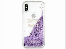 Guess Glitter Party Case Paars iPhone XXs hoesje