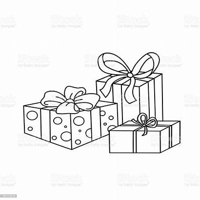 Outline Coloring Gifts Cartoon Birthday Present Christmas