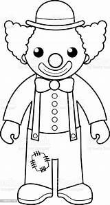 Clown Coloring Circus Outline Cartoon Illustration Vector sketch template