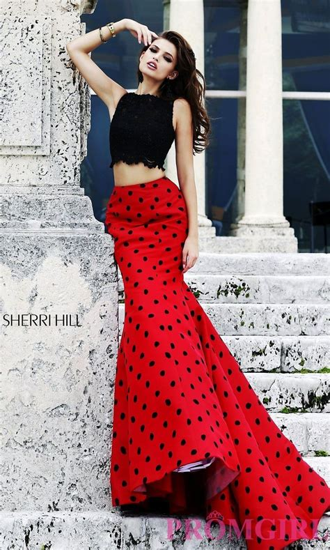 Prom Dresses Plus Size Dresses Prom Shoes -PromGirl  Long Two Piece Polka Dot Dress | prom ...