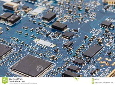 Blue Circuit Board Pcb Close Chips Transistors