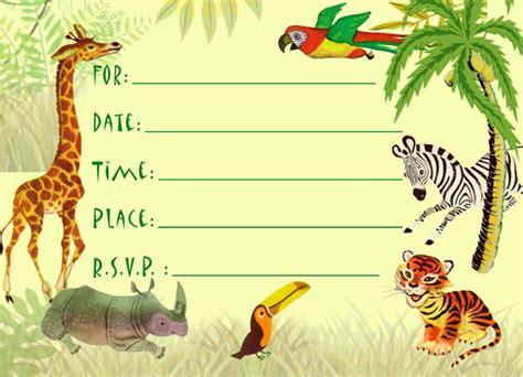 jungle animal birthday invitations  printable