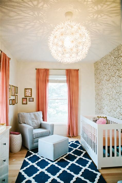 Coral And White Striped Curtains by Cute Nursery Baby Room Design Cococozy