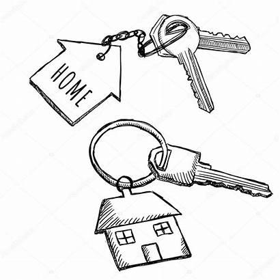Keychain Key Keys Ring Drawing Trousseau Gekritzel